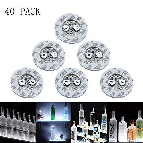 LED-Aufkleber-Untersetzer mit weißen Lichtern für Wein-, Likörflaschen, Glas-Untersetzer, Halloween, Party, Hochzeit, Bar, Party-Dekoration, 40 Stück