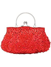 OULII Bolso de Noche Bolso de Embrague Bolso de Fiesta Boda (Rojo)