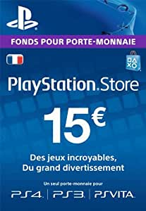 carte psn 15 eur code playstation store ps4 ps3 ps vita compte fran ais jeux vid o. Black Bedroom Furniture Sets. Home Design Ideas