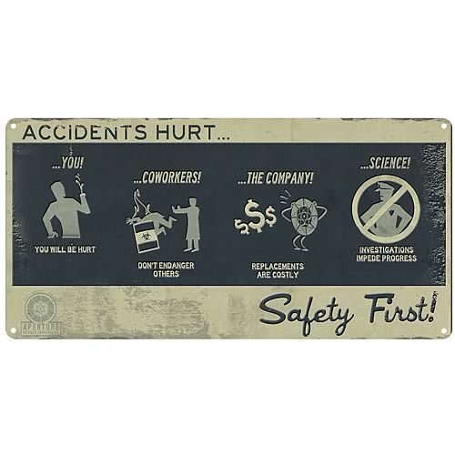 Portal 2: Safety First Tin Wall Sign