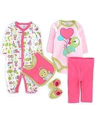bebés 5 Sets ropa largos ropa de niño de la manga+calcetines+baberos+Body+pantalones Mameluco recién nacidos Vine