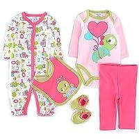 Vine recién nacidos bebé 5 Sets ropa largos ropa de niño de la manga con calcetines baberos Body pantalones Mameluco