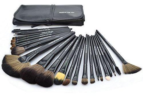 KanCai 24 piezas pinceles de maquillaje profesional con el juego de manijas de madera - kit de cepillo cosmético con estuche de cuero sintético