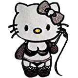Naughty Hello Kitty Punk Patch '6.2 x 8 cm'- Parche Parches Termoadhesivos Parche Bordado Parches Bordados Parches Para La Ropa Parches La Ropa Termoadhesivo Apliques Iron on Patch Iron-On Apliques