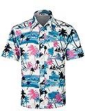 APTRO Herren Hemd Hawaiihemd Freizeit Hemd Kurzarm Urlaub Hemd Reise Shirt HW009 XL