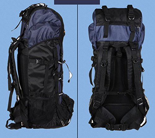 BM Outdoor Professionelle Bergsteigen Tasche 50L 60Liter Reise Camping Wandern Rucksack Mode Rucksack Pack deep blue