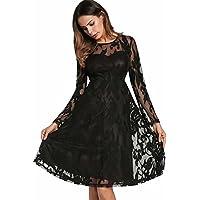 a009b35c85 Onfly Women Round Neck Long Sleeve Lace Princess Dress A Line Skirts  Elegent Solid Hollow Net