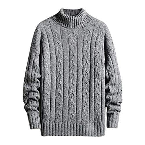 Dwevkeful Pullover Herren Sweater Winter Strickjacke Grobstrick Cardigan Hoher Kragen Strickpullover Warm Wollmantel Einfarbig Strickmantel Slim Fit Pulli Langarm Mantel (XXL, Grau)