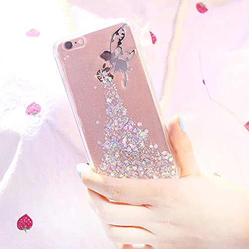 Coque pour iPhone 8 / iPhone 7 Soft Ultra Slim Thin TPU Gel Cover Étui, Sunroyal Bling Glitter Sparkle Stars Case Crystal Clear Transparent Silicone Shell Motif Fairy Girl Angel 3D Bling Paillettes Fi Bleu
