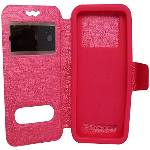 MGCover Universal Window Flap Dairy Pu Pink Artificial Leather Perfectly Fit Case Cover for Asus ZenFone 2 Laser (ZE500KL) Flip Cover