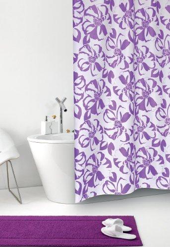 Duschvorhang Tessuto Giglio weiß mit lila Blumen Textil 120cm breit x 200cm lang inkl. Ringe