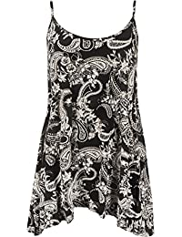 Womens Plus Strappy Abstract Animal Paisley Print Cami Swing Vest Ladies Top 12-30