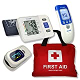 First Aid Kit Contains over 100 Items - Finger Pulse Oximeter - Body Temperature Thermometer - Arm Blood Pressure monitor - 4 essential Health Items at a special pack Price. CE Approved and Money Back Guarantee.