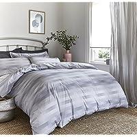 Bianca Stripe Cotton Check King Size Duvet Set, Grey