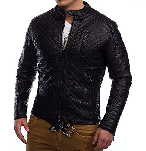 Uomini trapuntato giacca di pelle in fila biker Coby ID1315, Größe Jacke:XL