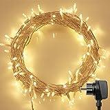 100er LED Outdoor Lichterkette mit Fernbedienung & Timer Ideal für CHRISTMAS, Festlich, Hochzeiten, Geburtstag, PARTY, NEW YEAR Dekoration, HÄUSER (8 Modi, Warmweiß, 4,8W, Dimmbar)