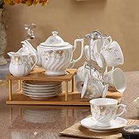 KHSKX Ceramica tazza da caffè con piattino impostare uno stile europeo bone china set da tè 15 pezzi impostato con telaio in legno,un