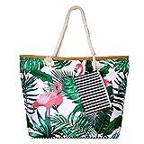SenPuSi Beach Bag Summer Canvas Shoulder Bag Holiday Travel Large Shoulder Bag with Zip Shopping Bag with Small Handbag Environmental Protection DIY Bag for Girls Ladies Women (Grande Flamenco)