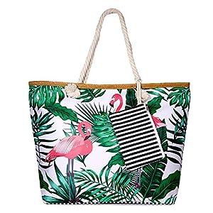 SenPuSi Große Strandtasche mit Reißverschluss Shopper Schultertasche Leinwand Sommer Schwimmbad Damen TascheVerschluss Badetasche Umhängetasche für Reise, Kaufen, Ausflug usw