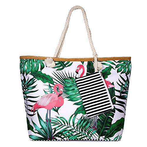 SenPuSi Beach Bag Summer Canvas Shoulder Bag Holiday Travel Large Shoulder Bag with Zip Shopping Bag with Small Handbag Environmental Protection DIY Bag for Girls Ladies Women (Grande Flamenco)