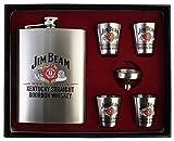 #10: Jim Beam Stainless Steel 8 Oz/236 ml Hip Flask + 4 Shot Glasses + Funnel