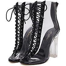 ZCH señoras tacón alto boca de pescado Abrir dedo del sandalias de tacón grueso correas cruzadas cristal transparente botas 35-40 , black , 40