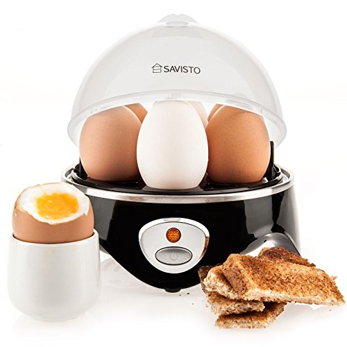 Savisto Elektrischer Edelstahl Eierkocher mit Härtegradeinstellung 360W [Egg Boiler] - Eier kochen, pochieren, dünsten - Omelett-Pfanne und Gemüsedämpfer [7 Eier] Signalton inkl. Messbecher - Schwarz