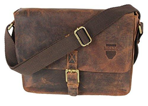 DION von RICANO, Umhängetasche aus Rind Nappa Echtleder in vintage braun (Leder Hose Sixty Miss)