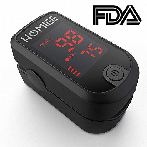 Oxymètre d'impulsion de doigt d'HOMIEE avec l'écran rotatoire de LED, lecture instantanée portative Moniteur de fréquence cardiaque de saturation d'oxygène de sang de bout du doigt, CE et approuvé par FDA (LED Noir)