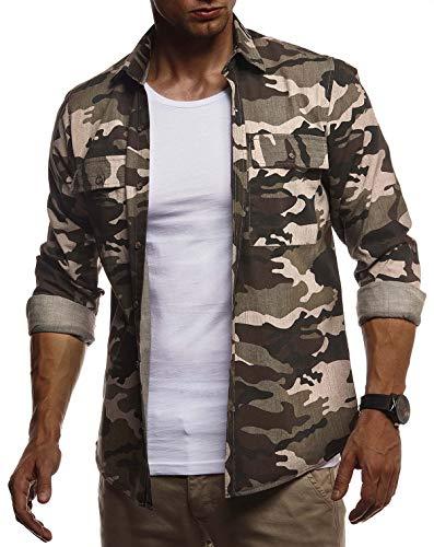 LEIF NELSON Herren Hemd Freizeithemd T-Shirt Langarm 100% Baumwolle | Männer Langarmshirt Oversize Jeanshemd | Jungen Basic Shirt Kurzarmshirt Camouflage Sommerhemd | LN3850 Khaki X-Large