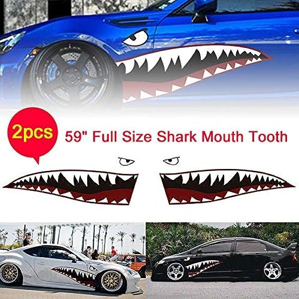 Hellogirl 2 Stück Diy Hai Mund Zahn Zähne Grafiken Pvc Auto Aufkleber Aufkleber Wasserdicht Auto