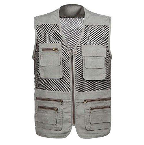 Gilet in maglia traspirante per uomo, gilet multitasche per safari, pesca in campeggio, fotografia in viaggio o qualsiasi giacca avventura (colore : beige, dimensioni : xxl)