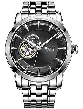 BUREI Luxus Herrenuhr mechanische Automatik Armbanduhr 24 Dial Analog Display Automatikuhr schwarz Ziffernblatt...