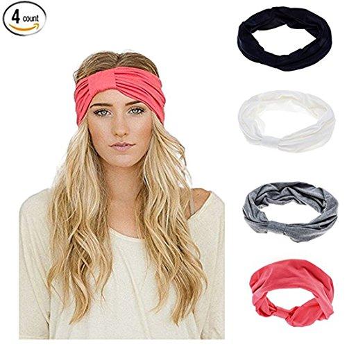 Lydreewam Damen 4 Stüke Elastische Blume Gedruckt Stirnbänder Turban Boho Floral Style Twisted (Warme Diy Kostüme)