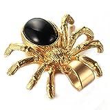 LANCHENEL Herren Wiederholen Spider Titan Stahl Anhänger Halskette,Gold Schwarz