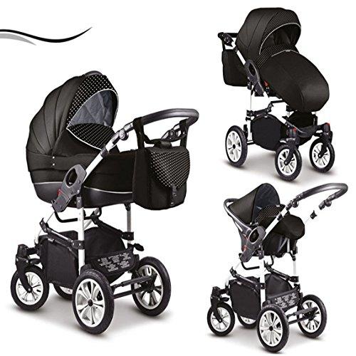 16-teiliges-Qualitts-Kinderwagenset-3-in-1-Mikado-COSMO-Kinderwagen-Buggy-Autokindersitz-Schwenkrder-Mega-Ausstattung-all-inclusive-Paket-in-Farbe-C-13-SCHWARZ-WEISS-PUNKTE