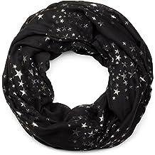 87a8353d9c45 styleBREAKER écharpe snood avec motif imprimé d étoiles métalliques  scintillantes un peu partout, écharpe