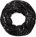 styleBREAKER Loop Schlauchschal mit glitzerndem Metallic Sterne All Over Print Muster, Schal, Tuch, Damen 01016118, Farbe:Schwarz