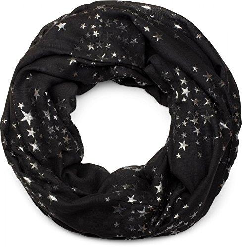 styleBREAKER fular de tubo con estampado de motivo «all over» de estrellas metálicas brillantes, chal, pañuelo, señora 01016118, color:Negro