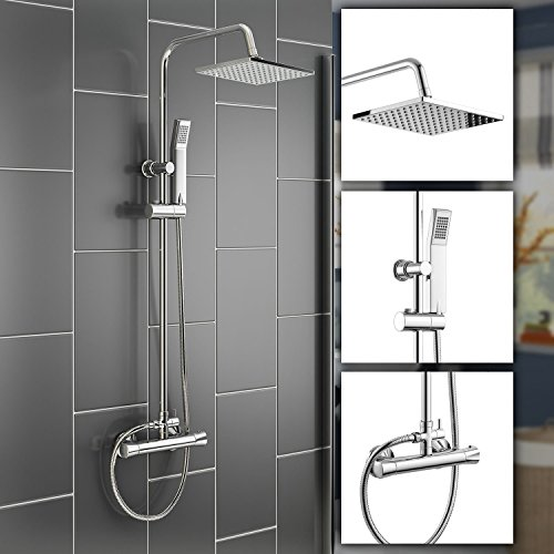 "iBathUK | Square Thermostatic Bar Mixer Shower Set Chrome Valve 8"" Head + Handset SP1012"