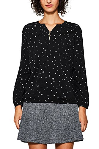 edc by ESPRIT Damen Bluse 097CC1F021 Mehrfarbig (Black 001), Small