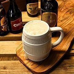 Idea Regalo - Boccale da birra in ceramica a forma di botte da 0,5 l –Scatola regalo con manici stile tedesco inclusa
