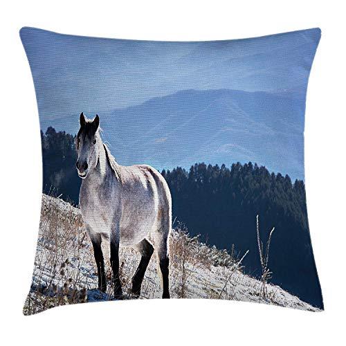Jxrodekz Pferde Dekokissen Kissenbezug, Pferd auf Snowy Mountains Edle Körper Wildtiere in der Wildnis der menschlichen Natur, Decorativ -