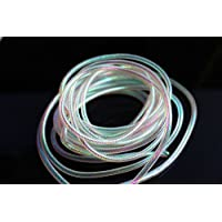 Tigofly - Tinsel de mylar holográfico, en 5 colores, chenilla trenzada, diseño ovalado y brillante; 4 m. Material para la creación de mosca seca., Pearl Small