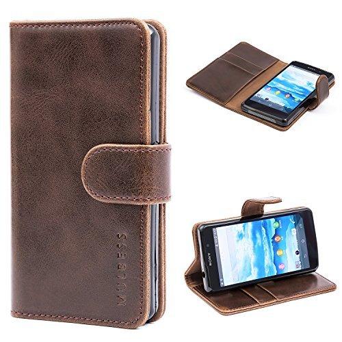 Mulbess Ledertasche im Ständer Book Case/Kartenfach für Sony Xperia Z1 Compact Tasche Hülle Leder Etui,Vintage Braun