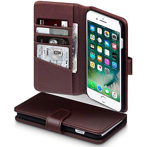 iPhone 8 Plus / iPhone 7 Plus Case, Terrapin [ECHT LEDER] Brieftasche Case Hülle mit Kartenfächer und Bargeld für iPhone 8 Plus Hülle Schwarz Braun