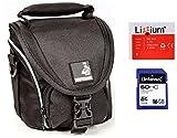 Etui de rechange pour sacoche pour appareil photo noir + batterie de rechange NB-6LH + carte SD 16 Go pour Canon PowerShot SX520 HS, SX530 HS, SX540 HS