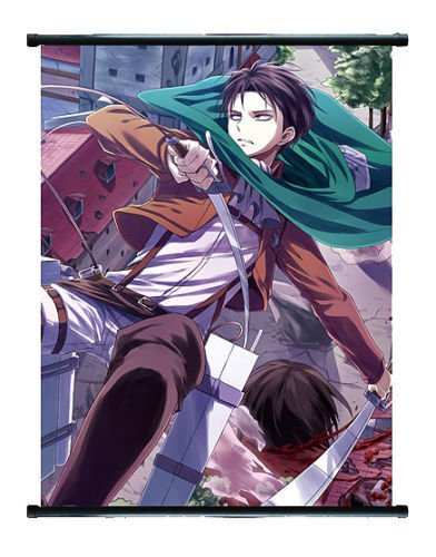 Attack On Titan Anime Levi Wall Scroll Extra Groß ? 60 x 90 cm (Groß Levis Hoch Und)