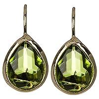 Peridot Quartz Gold Clad Pear Shaped Wholesale Gemstone Fashion Jewelry Hook Earrings