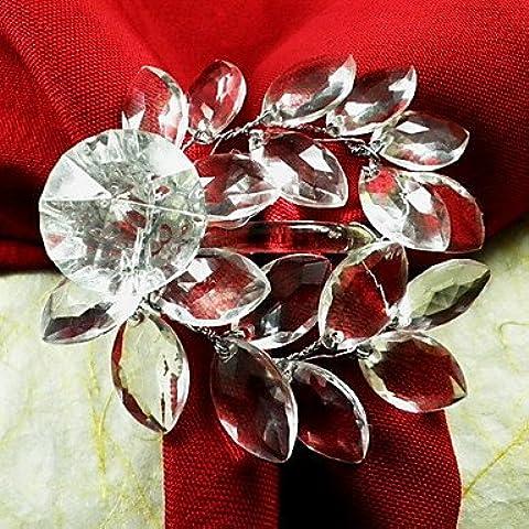 X7 Tovagliolo Leaf acrilico Wedding Ring Of 12, Acrilico Dia 4,5 centimetri , Green